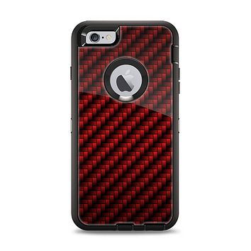 The Glossy Red Carbon Fiber Apple iPhone 6 Plus Otterbox Defender Case Skin Set