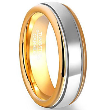 6mm Men's Polished Tungsten Carbide Wedding Ring Gold Plated Edge Inner Circle Band (Platinum 14k, 18k and 24k Yellow Gold)