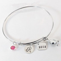 Hand Stamped Graduate Graduation Initial Charm Bracelet, Graduation Bangle with Sterling Silver Grad Cap Charm and Swarovski Birthstone
