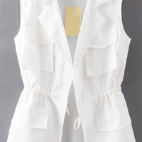 White Lapel Drawstring Waist Vest with Multiple Pockets Detail