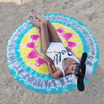 Round Roundie psychedelic Indian Art Tapestry Beach Throw Yoga Mat Towel Decor Tie Die