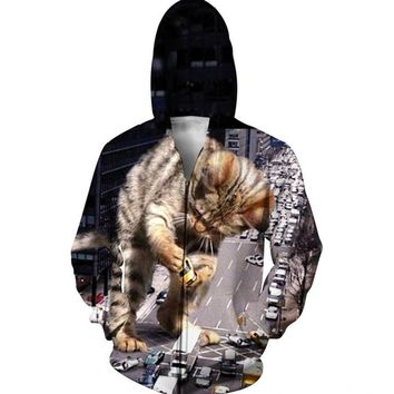 Funny Hoodies And Sweatshirt Mens 3D Printed Huge Cat Destorying The Car In The Street Graphic Pullover Fashion Tops Streetwear