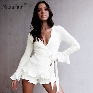Nadafair v neck flare sleeve jumpsuits women bow tie-up ruffles sexy playsuits autumn long sleeve rompers women 2 piece sets