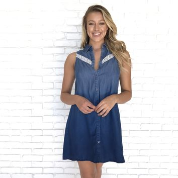 Till The Sun's Up Denim Crochet Dress