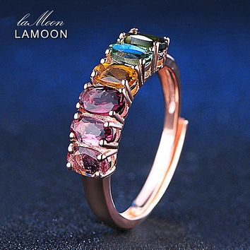 LAMOON Fine Jewelry Body Ring Making Colorful Natural Gemstone Tourmaline Rings 925 Sterling Silver Rose Fashion Women Rings
