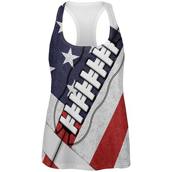 4th of July American Flag Patriot Football All Over Womens Work Out Tank Top