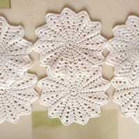 Set of 6 Crocheted Coasters, Crochet Home Decor Doily, White Yarn Coasters, Cup Coasters