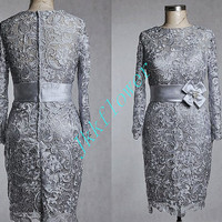 Unique Gray Full Sleeves Lace Prom Dresses,Scoop Neckling Lace Mother Of The Bridesmaid Dresses,Knee Length Cocktial Dresses