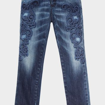 Young Versace Baroque Embroidered Denim Jeans for Girls | Official Website