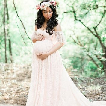 Fashion Maternity Dress Photography Props Plus Size Sexy White maternity Photography Dresses Lace Split Pregnant Dress