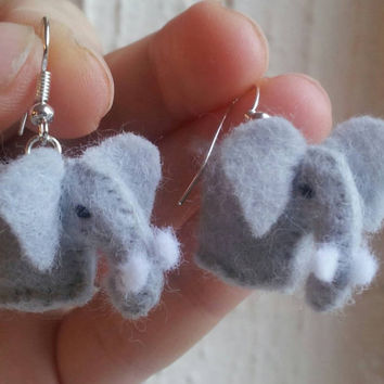 African Elephant Earrings - felt earrings cute earrings elephant earrings animal earrings unusual earrings made in UK