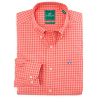 Sage Valley Check Performance Sport Shirt in Sunset by Southern Tide