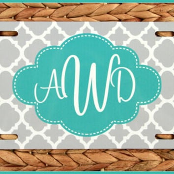 Turquoise Personalized Monogrammed License Plate Car Tag Monogram License Plate Personalized License Plate Vanity Plate Car Tag