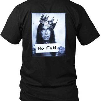 Iggy Pop No Fun Expression 2 Sided Black Mens T Shirt