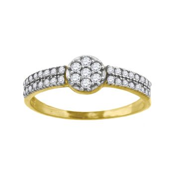 Round Cut CZ Promise or Fashion Ring in 10k Yellow Gold