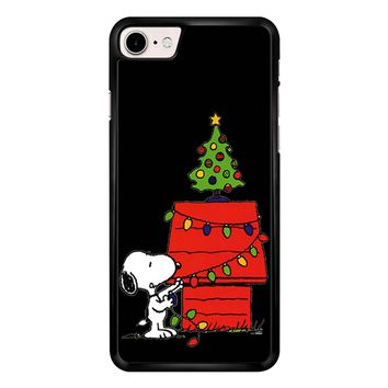 Snoopy And Christmas Tree - Black iPhone 7 Case