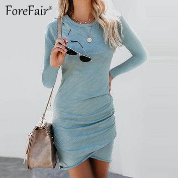 Forefair Long Sleeve Bodycon Dress Women 2018 New Summer Dresses Casual Ruched Elastic Crew Neck Sheath Above Knee Dress
