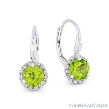 1.52 ct Peridot & Diamond 14k White Gold Drop Dangling Leverback Baby Earrings