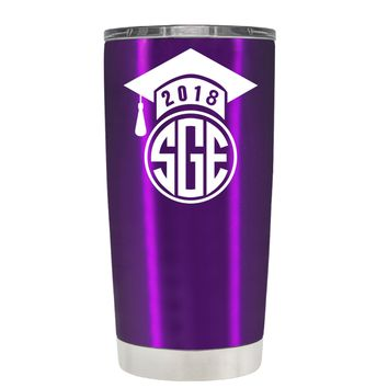 2018 Graduation Cap Monogram on Violet 20 oz Tumbler Cup