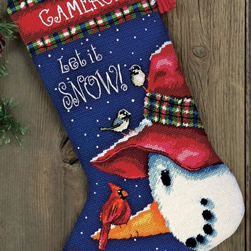 """16"""" Long Stitched In Wool & Thread Snowman Perch Stocking Needlepoint Kit"""
