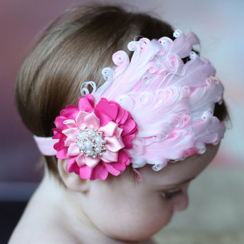 Pink Feather Headband, Pink Curly Feather Pad Headband, Boutique Headband, Newborn photo prop, Baby Shower Gift, Flower Girl Headband, Adult
