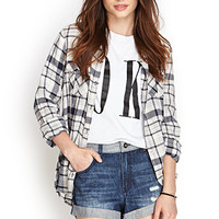 FOREVER 21 Two-Tone Denim Shorts Denim/Light Denim