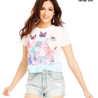 Aeropostale Kittens Crop Graphic T - Bleach,