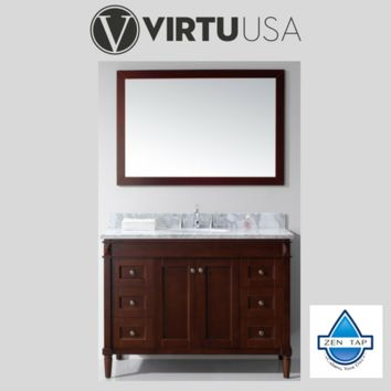 "Tiffany 48"" Single Bathroom Vanity in Cherry with Marble Top and Round Sink with Mirror"
