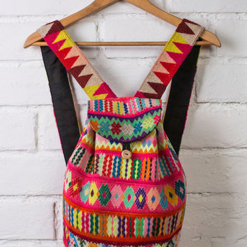 HANDMADE BACKPACK - boho backpack, backpack handmade, peruvian backpack, hippie backpack, embroidered bag,colorful backpack,hipster backpack