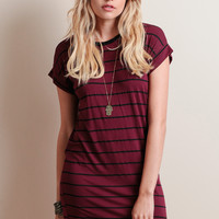 Stone Striped Dress In Burgundy By Knot Sisters