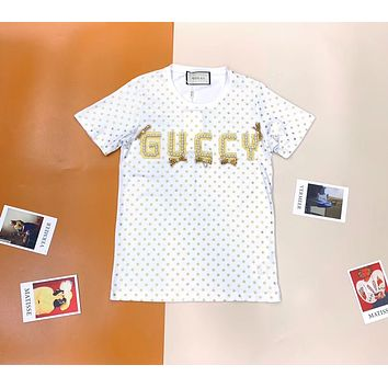GUCCI Womens Printed T-shirt with pearl