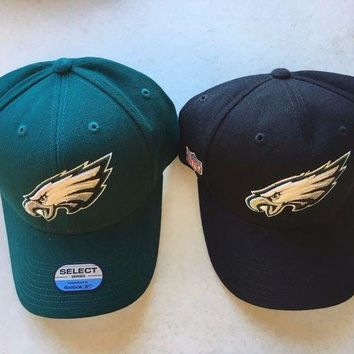 DCCKIHN BRAND NEW PHILADELPHIA EAGLES BLACK OR GREEN REEBOK CURVED BRIM ADJUSTABLE HAT