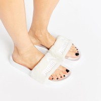 Puma X Rihanna Fenty Leadcat Fluffy Sliders In White at asos.com