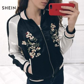 Sheinnet Color Block Women Coat Long Sleeve O Neck Embroidery Zipper Outwear For Women Ribbed Casual Bomber Jacket Female