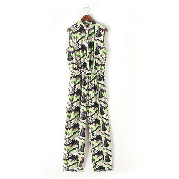 Summer Women's Fashion Geometric Print Jumpsuit [4918853316]