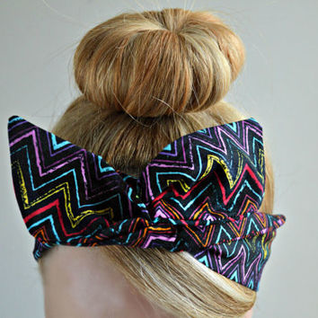 Chevron Dolly bow, hair bow head band, hair bow