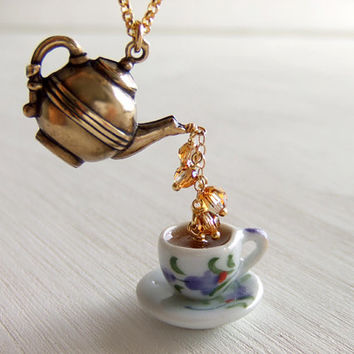 Lavender Teapot Cup Jewelry Necklace, Tea Charms, Purple Flower, Cup Saucer, Brass Teapot, Gift for Her
