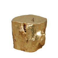 Origin Collection Large Log Stool Side Table - Gold