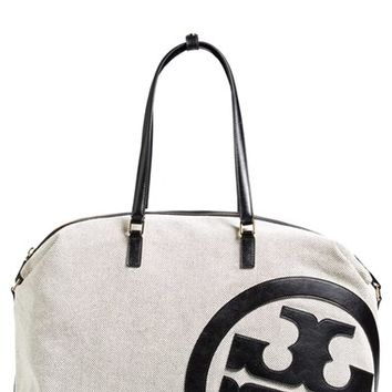 Women's Tory Burch 'Lonnie' Canvas & Leather Logo Duffle Bag