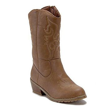 Jazame Little Kids' Girls Tall Stitched Western Cowboy Cowgirl Boots
