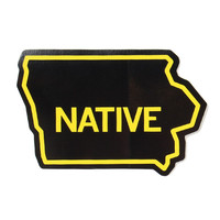 Iowa Native Black Sticker