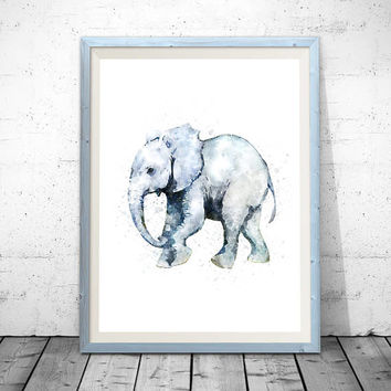 Watercolor elephant, elephant print, elephant wall art, elephant nursery, nursery animal print, elephant painting, elephant nursery art.