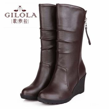 new thick fur inside wedge high heels half knee high women snow boots women's boots autumn winter shoes woman best #Y1150028F