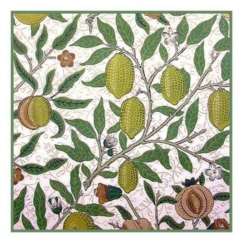 William Morris Fruit in Greens Design Counted Cross Stitch or Counted Needlepoint Pattern