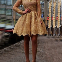 Gold Homecoming Dresses, Appliques Long-Sleeves Homecoming Dresses, Short Prom Dress