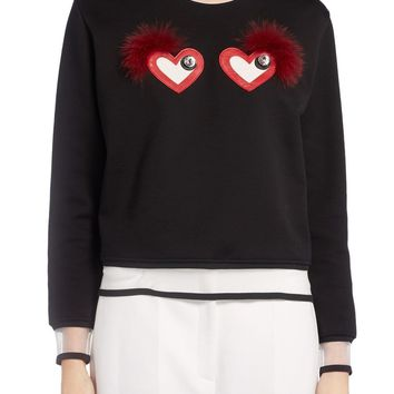Fendi Beating Hearts Sweater with Genuine Fox Fur Trim | Nordstrom