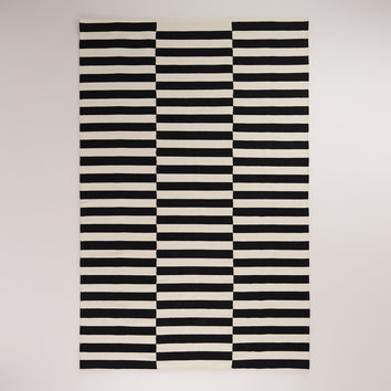 Black and White Striped Dhurrie Rug - World Market