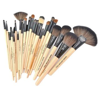 24 Pcs Makeup Brush Set Cosmetics Foundation Blending Blush Eyeliner Face_Beige