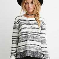 Fringed-Hem Stripe Sweater