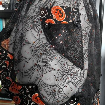 1950's Inspired Flocked Organza Flounce Sheer Hostess Half Apron - Halloween- Pumpkins - Spiderweb - Cats - Owls - Retro - Pinup - Spooky